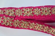 ATTRACTIVE FLORAL EMBROIDERY LACE TRIM ON VELVET SLIM  (PINK) - SOLD by METRE
