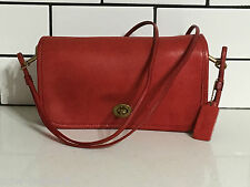 COACH VINTAGE RED LEATHER FLAP BAG DOUBLE STRAP NEW YORK CITY
