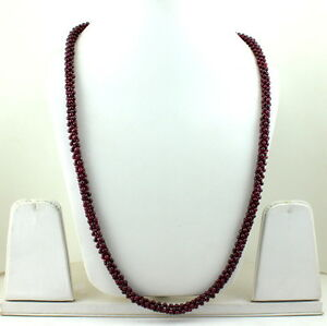 NATURAL REAL RED GARNET GEMSTONE 3 MM ROUND BEADED BEAUTIFUL NECKLACE 50 GRAMS