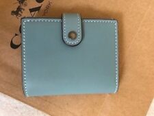 NWT Coach 86909 Small Trifold Wallet with Floral Print Leather Steel Blue $225