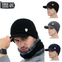Men Sports Winter Hat Knit Visor Beanie Fleece Lined Billed Beanie with Brim Cap