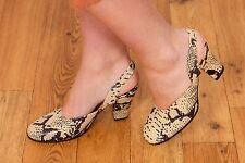 60s vintage cream & black snakeskin leather sling back heels by Espace 60s  MOD