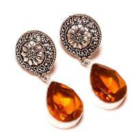 Citrine Pear Gemstone Silver Overlay Handmade Vintage Dangle Drop Earrings