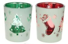 Set of 2 Silent Night Christmas Glass Tealight Holders Gift Box Votive Tealight