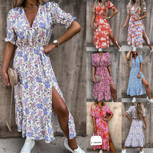 Womens Boho Floral V Neck Midi Dress Ladies Holiday Beach Side Slit Sundress