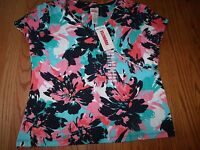 NWT WOMENS RUBY RD. BLUE PINK GREEN EMBELLISHED 3/4 SLEEVE KNIT TOP SHIRT LARGE