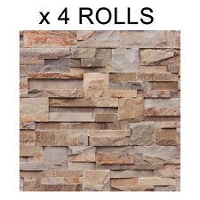 Brown Brick Wallpaper Slate Stone Natural 3D Textured Vinyl Washable Muriva x 4