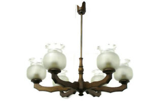 Architectural Art Deco lounge Chandelier Etched Glass Shades 6 Arms Lights Wood