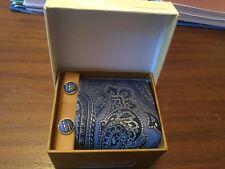 Fatto a mano Blu Scuro Paisley Pattern Seta Cravatta Gemelli Set y&g-Nuovo e Inscatolato