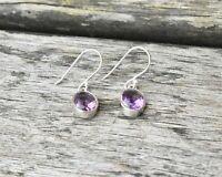 Handmade 925 Sterling Silver Amethyst Gemstone Oval Drop/Dangle Earrings