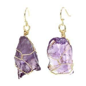Natural Hearling Irregular Crystal Stone Reiki Handmade Wire Warp Women Earrings