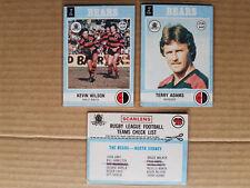 1977 Norths Bears x 3 Cards - Checklist, Adams #25, Wilson #20
