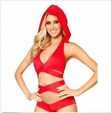 Sexy Red Detachable Hoodie Top Clubwear Gogo Dancer Rave Raver Outfit