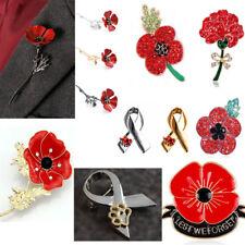 Red Flower Poppy Pin Women Men Jewelry Remembrance Brooch Pins Badge Enamel Hot