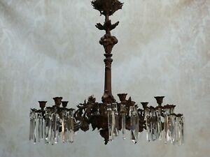 Barock Kronleuchter zum Aufarbeiten Floral Weinlaub Kristallbehang