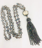 Beautiful Smokey Topaz AB Crystal Necklace Tassel Facet Cut Vintage Necklace