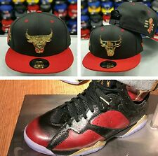 Matching New Era Chicago Bulls Metal Badge Snapback Hat For Jordan 7 Doernbecher