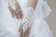 Ladies white lace diamante fingerless hand short wrist bridal wedding gloves WG2