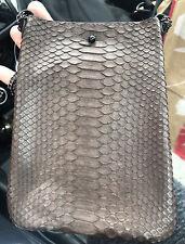 J. Markell Ella Python Snakeskin & Leather Crossbody Bag Purse Brown Black