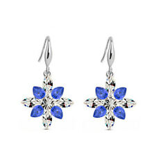 Shiny Sparkle Silver tone Crystal Snowflakes Winter Design Earrings Party E1327