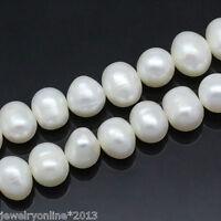 1Strang Zuchtperlen Süßwasser Perlen Schmuck Kette Halskette 9-10mm