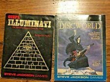 LOT 2 Vintage Steve Jackson GURPS RPG Role Playing Books Illuminati Discworld