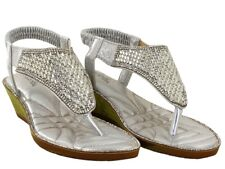 WOMEN LOW WEDGE HEEL SANDAL TOE POST LADIES ELASTICATED SANDAL UK SIZES 3-8