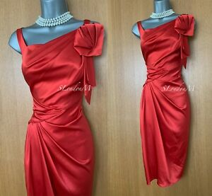 KAREN MILLEN UK12 Red Satin Pleated Side Brooch Detail Evening Party Shift Dress