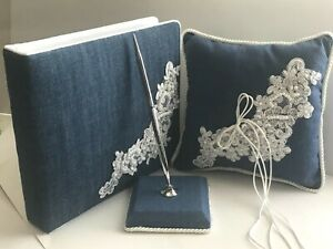 Western Wedding Blue Denim, Pearl and White Lace, Guestbook, Pen,  Pillow Set