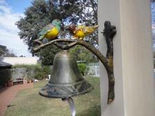 Vintage Cast Iron Hand Painted Bird On Twig Door Garden Bell 082015