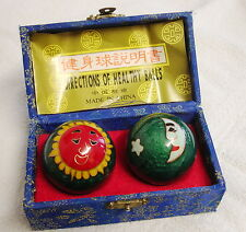 Bolas chinas Cloisonne estrés Vintage Sol y la Luna Diseño Bolas de Hierro de salud