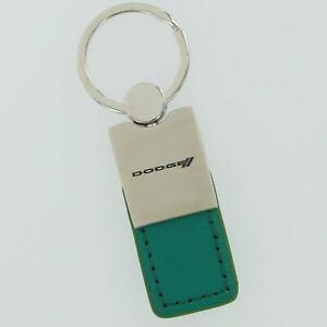 Dodge Stripe Leather Key Ring (Green)