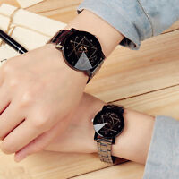 Fashion Stainless Steel Watch Couple Lovers Women Mens Quartz Analog Wrist Watch