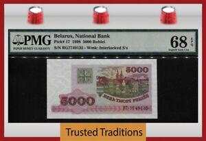 TT PK 17 1998 BELARUS NATIONAL BANK 5000 RUBLEI PMG 68 EPQ SUPERB GEM UNC!