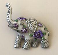 Vintage Elephant  Flower brooch enamel on metal