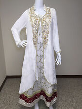 Pakistani Indian White Salwar Kameez Party Wear Embroidery Pearl borders