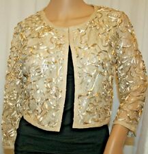 21 CARDIGAN DRESSY BEACH BRIDE COVER UP SHRUG BEIGE GOLD S