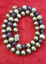 Early Taxco Mexican sterling silver 925 amethyst bead ball heavy necklace 97grm