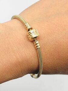 "Vtg Authentic PANDORA 14k Gold G585 ALE Bracelet Weight 18.6g - 7.75"""