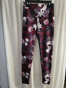 NWOT KYODAN Yoga Pants Leggings Athletic Burgandy Floral Women's Sz TP/XS