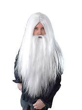 Adults Long White Wig Beard Christmas Santa Wizard Gandalf Merlin Fancy Dress