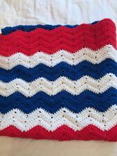 Red White & Blue Handmade Crochet Blanket Throw Afghan