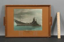 Antique 1940s WWII Battleship USS Iowa Hand Colored Photograph, NR