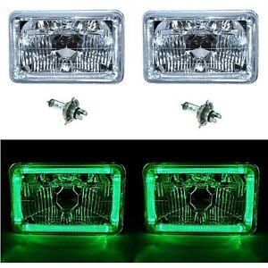 4X6 Green LED Halo Angel Eye Halogen Headlight Headlamp Bulbs Crystal Clear Pair