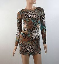 Sky Leopard Print Mini Dress with Gold Chains Small