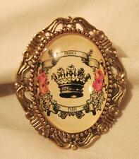 Yellow Festoon Crown Crest Brooch Pin Lovely Etch Swirl Rimmed Goldtone Butter