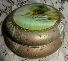 "Antique Nippon Moriage Covered Powder Box Hand Painted As Is 5.5"" x 3"" DR14"