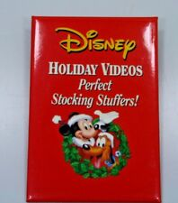 MICKEY--PLUT0--HOLIDAY VIDEOS PIN BACK BUTTON--PERFECT STOCKING STUFFERS!--PROMO