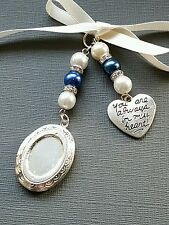"""Wedding Bouquet Charm Oval Silver Locket Pendant with """"always in heart"""" charm"""