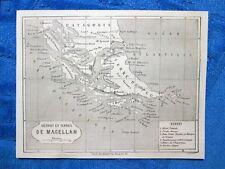 Gravure Année 1861 - Carte de les Terres de Magellan - Mappa Terre di Magellano